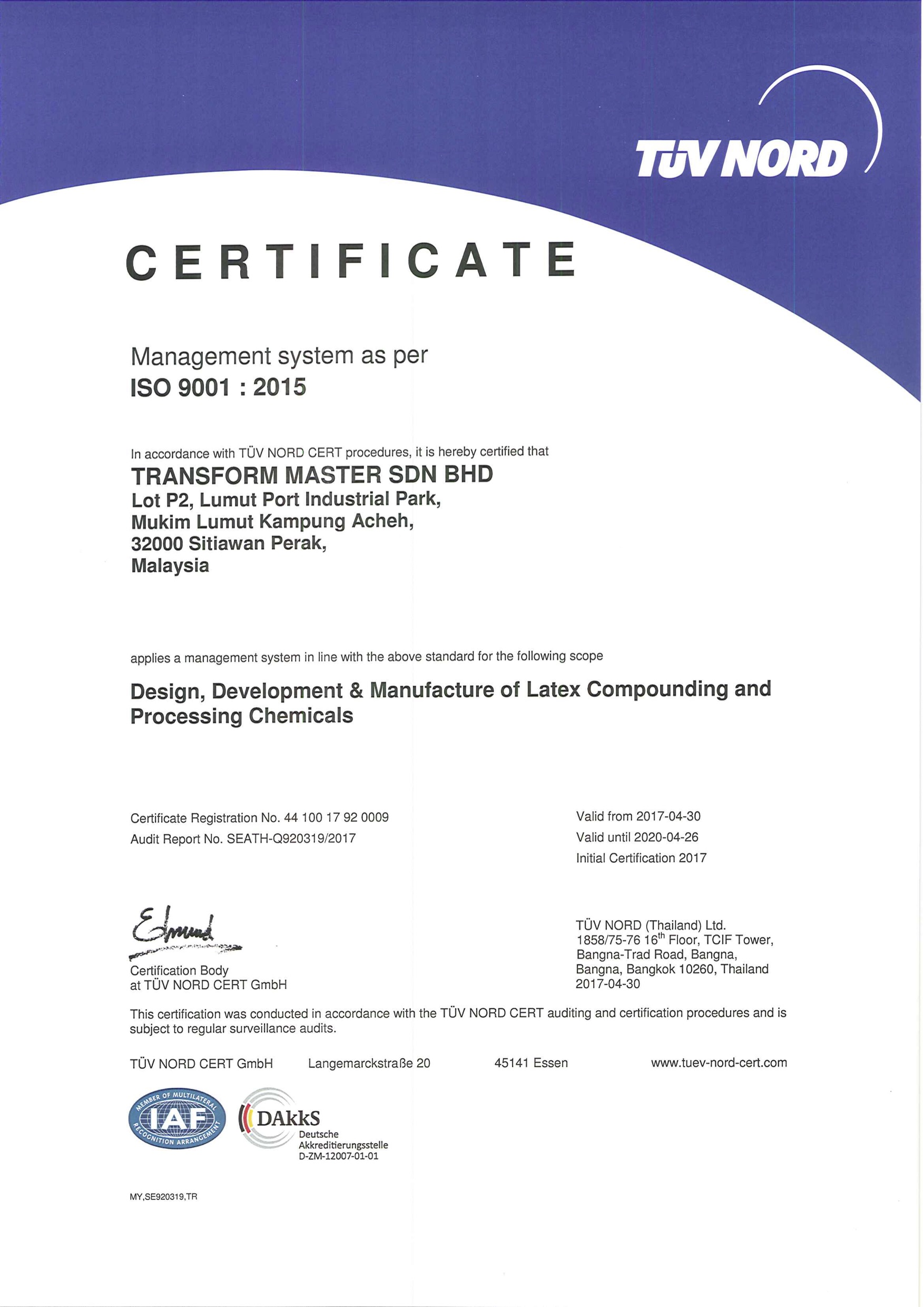 Transform Master Original Certificate QMS RCUA17 copy